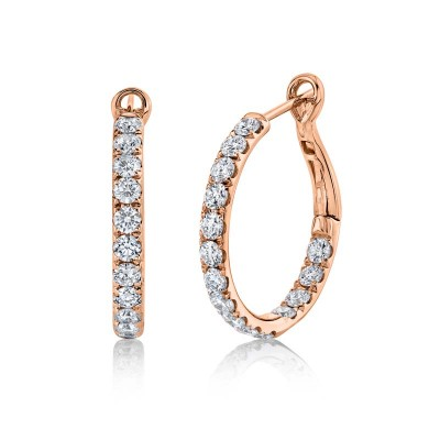 2.42ct 14k Rose Gold Diamond Hoop Earring