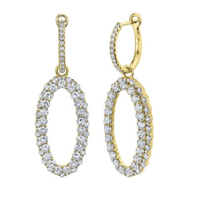 3.00ct 14k Yellow Gold Diamond Oval Earring
