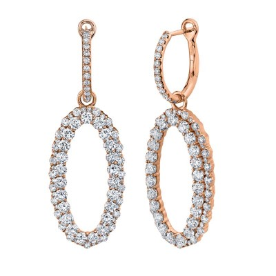 3.00ct 14k Rose Gold Diamond Oval Earring