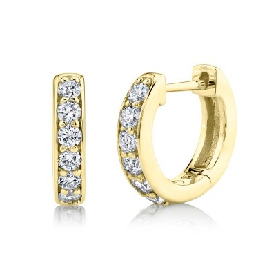 0.39ct 14k Yellow Gold Diamond Huggie Earring