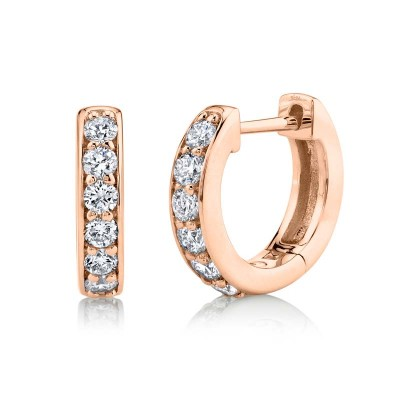 0.39ct 14k Rose Gold Diamond Huggie Earring