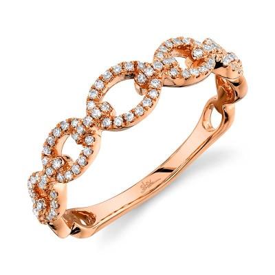 0.23ct 14k Rose Gold Diamond Link Ring