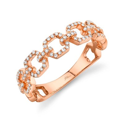 0.22ct 14k Rose Gold Diamond Link Ring
