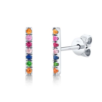 0.17ct 14k White Gold Multi-color Stone Bar Stud Earring