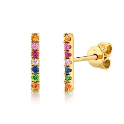 0.17ct 14k Yellow Gold Multi-color Stone Bar Stud Earring