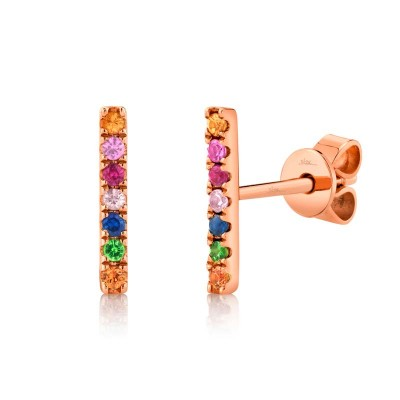 0.17ct 14k Rose Gold Multi-color Stone Bar Stud Earring
