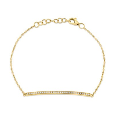 0.17ct 14k Yellow Gold Diamond Bar Bracelet