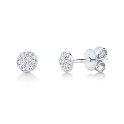 0.07ct 14k White Gold Diamond Pave Stud Earring