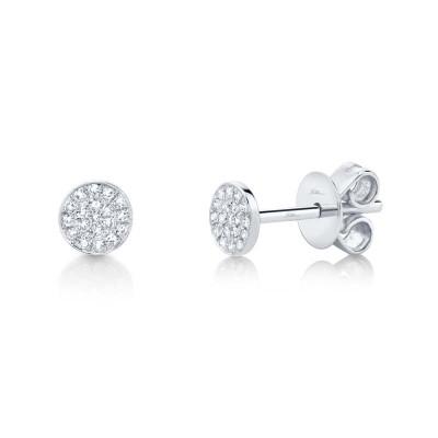 0.07ct 14k White Gold Diamond Pave Stud Earring