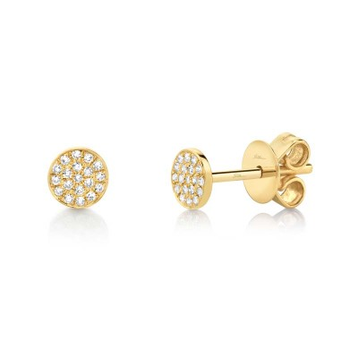 0.07ct 14k Yellow Gold Diamond Pave Stud Earring