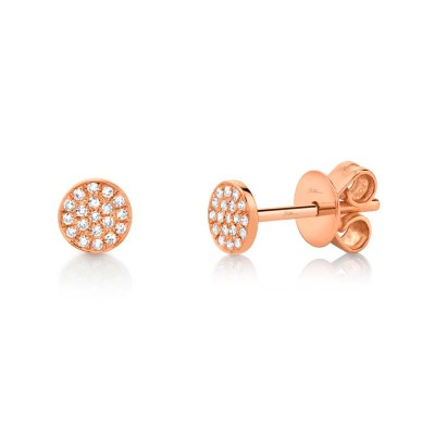 0.07ct 14k Rose Gold Diamond Pave Stud Earring
