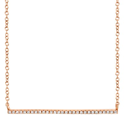 0.08ct 14k Rose Gold Diamond Bar Necklace