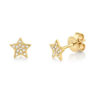 0.07ct 14k Yellow Gold Diamond Star Stud Earring