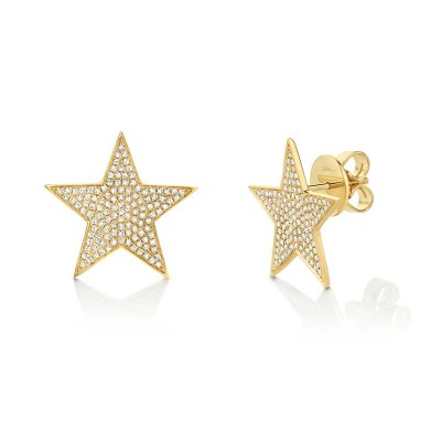 0.53ct 14k Yellow Gold Diamond Star Stud Earring