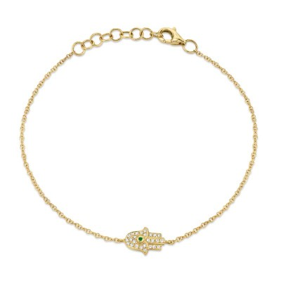 0.08ct Diamond & 0.01ct Emerald 14k Yellow Gold Hamsa Bracelet