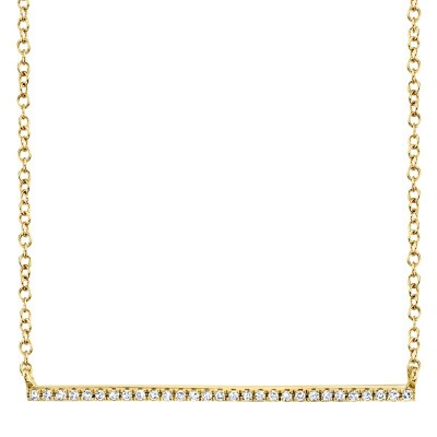 0.08ct 14k Yellow Gold Diamond Bar Necklace