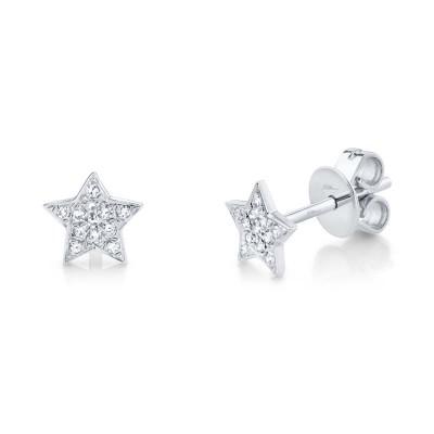 0.07ct 14k White Gold Diamond Star Stud Earring