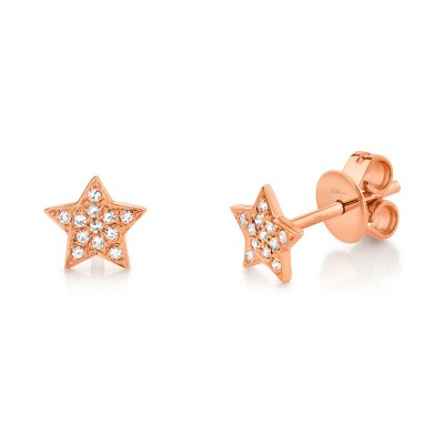 0.07ct 14k Rose Gold Diamond Star Stud Earring