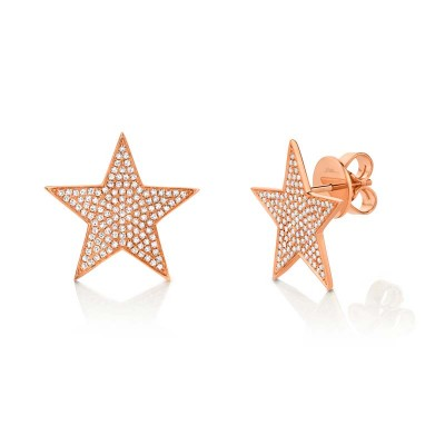 0.53ct 14k Rose Gold Diamond Star Stud Earring