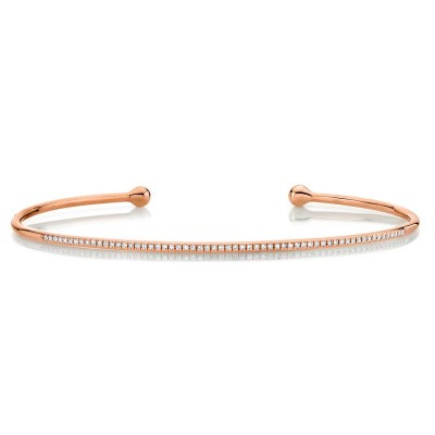 0.17ct 14k Rose Gold Diamond Bangle