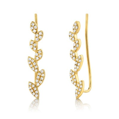 0.25ct 14k Yellow Gold Diamond Leaf Ear Crawler Earring