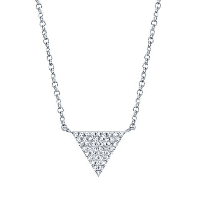 0.13ct 14k White Gold Diamond Pave Triangle Necklace