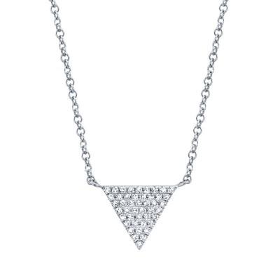 0.13ct 14k White Gold Diamond Pave Triangle Necklace