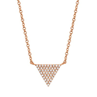 0.13ct 14k Rose Gold Diamond Pave Triangle Necklace