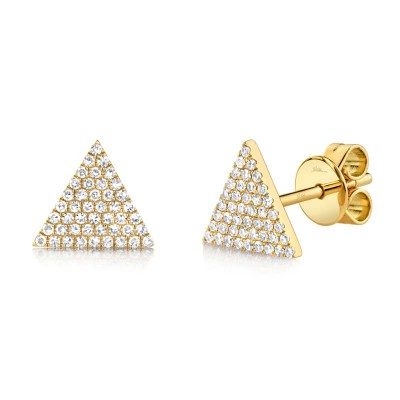 0.24ct 14k Yellow Gold Diamond Pave Triangle Stud Earring