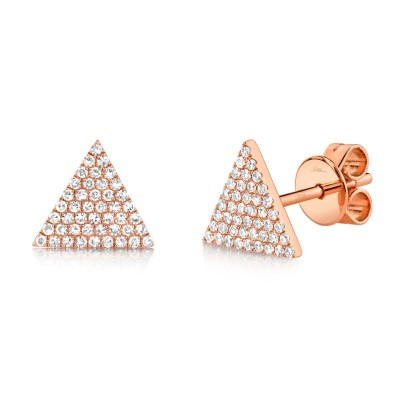 0.24ct 14k Rose Gold Diamond Pave Triangle Stud Earring