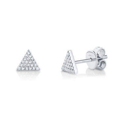 0.12ct 14k White Gold Diamond Pave Triangle Stud Earring