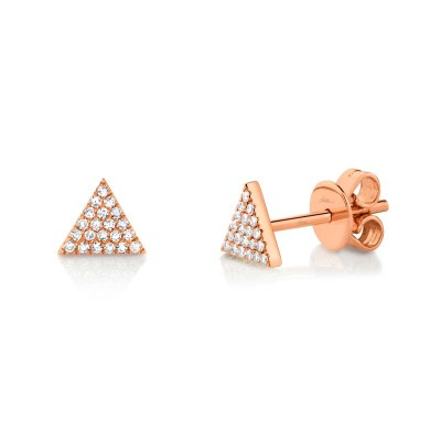 0.12ct 14k Rose Gold Diamond Pave Triangle Stud Earring