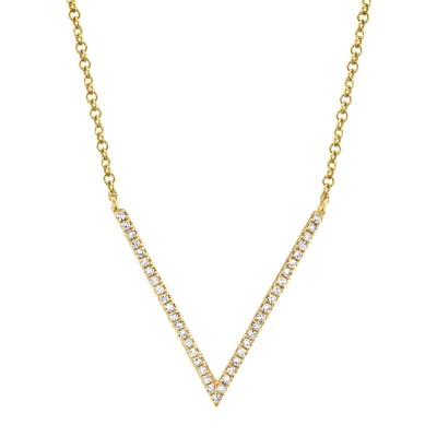 0.12ct 14k Yellow Gold Diamond Necklace