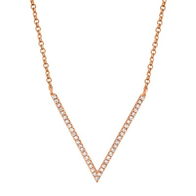 0.12ct 14k Rose Gold Diamond Necklace