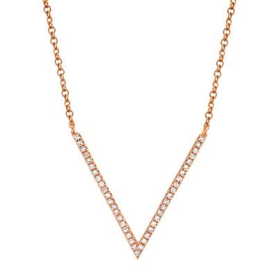 0.12ct 14k Rose Gold Diamond Necklace