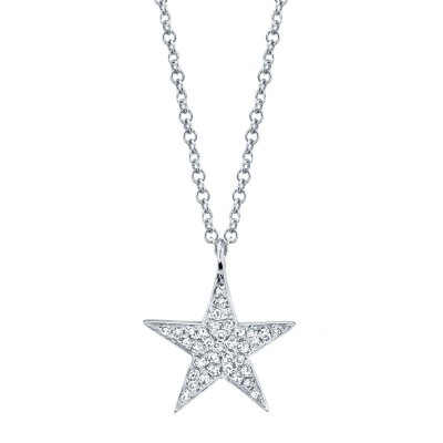 0.09ct 14k White Gold Diamond Star Necklace