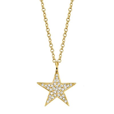 0.09ct 14k Yellow Gold Diamond Star Necklace