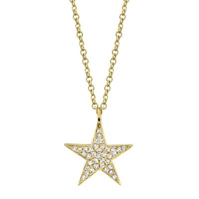 0.09ct 14k Yellow Gold Diamond Star Necklace