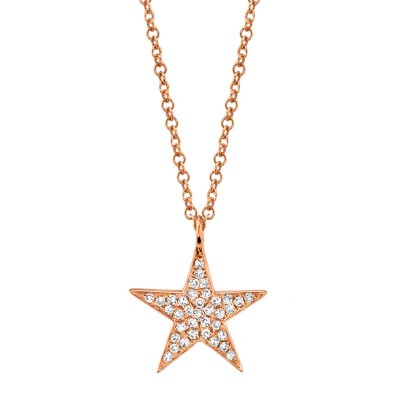 0.09ct 14k Rose Gold Diamond Star Necklace