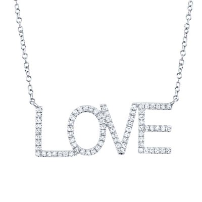 "0.21ct 14k White Gold Diamond ""Love"" Necklace"