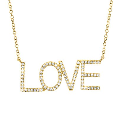 "0.21ct 14k Yellow Gold Diamond ""Love"" Necklace"