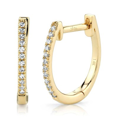 0.08ct 14k Yellow Gold Diamond Huggie Earring