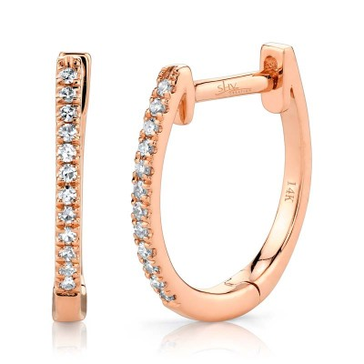 0.08ct 14k Rose Gold Diamond Huggie Earring