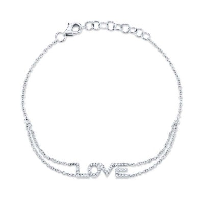 "0.12ct 14k White Gold Diamond ""Love"" Bracelet"