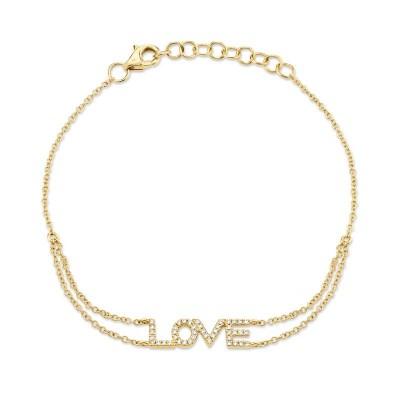 "0.12ct 14k Yellow Gold Diamond ""Love"" Bracelet"