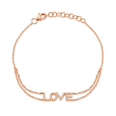 "0.12ct 14k Rose Gold Diamond ""Love"" Bracelet"
