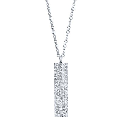 0.25ct 14k White Gold Diamond Pave Necklace