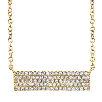 0.25ct 14k Yellow Gold Diamond Pave Necklace