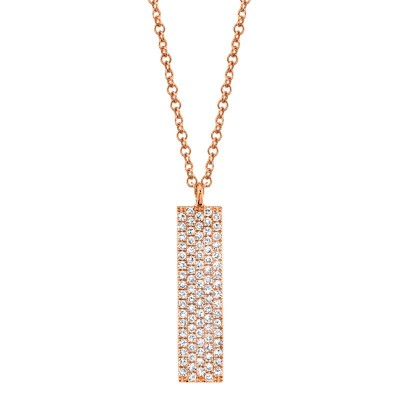 0.25ct 14k Rose Gold Diamond Pave Necklace