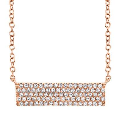 0.25ct 14k Rose Gold Diamond Pave Necklace